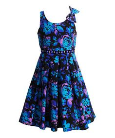 Another great find on #zulily! Black & Blue Floral Skater Dress - Girls by Bloome #zulilyfinds