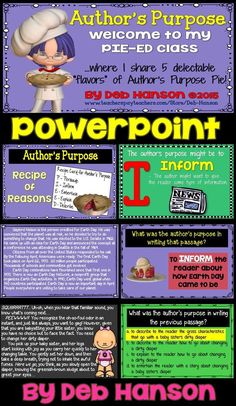 Author's Purpose PowerPoint containing 49 slides! This includes the more advanced version of teaching Author's Purpose. the PIE'ED version with test prep! (persuade, inform, entertain, explain, and describe) This PowerPoint includes 10 passages and 5 Reading Comprehension Activities, Reading Strategies, Comprehension Strategies, Reading Fluency, Teaching Reading, Authors Purpose Activities, Teaching Skills, Teaching Ideas, 3rd Grade Reading