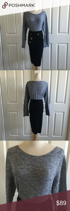 Eileen Fisher organic linen top long sleeves gray This Eillen Fisher top features an organic linen cotton blend feels delightfully cozy next to the skin,.  Bateau neck Long sleeves Drop-shoulder style 100% wool Dry clean or hand wash, dry flat  The skirt is boutique item , sold seperately. Eileen Fisher Tops
