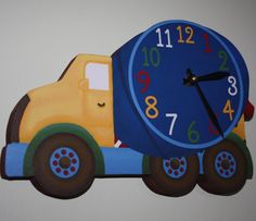 Thank you for visiting Toad and Lily™! Our clocks make a beautiful and unique gift, and are a really fun way to decorate a child's room and Baby Bedroom, Baby Boy Rooms, Wooden Walls, Wooden Doors, Construction Nursery, Truck Bedroom, Baby Door Hangers, Big Boy Bedrooms, Cement Mixers