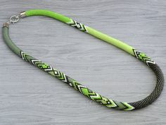 Made to order Bead Crochet Necklace With Lime and by Chudibeads