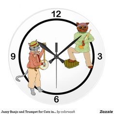 Jazzy Banjo and Trumpet for Cats into Music - Hang a bit of whimsy on the wall with a clock sporting banjo- and trumpet-playing cats. Great for the musician and equally great for kids!