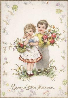 carte ancienne bonne fête maman : deux enfants avec bouquets de fleurs  { Mary Posy aime ! }