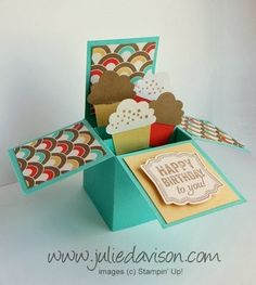 "Video Tutorial for EASY Card in a Box (4"" x 4"" size) with Stampin' Up! Retro Fresh & Cupcake Punch #birthday #stampinup www.juliedavison.com"