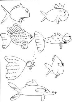 Cartoon Drawings How to draw fish, mostly for kids. - Here are some more fishes I drew to give you a nudge at trying to draw some of your own…have fun! Fish Drawings, Doodle Drawings, Cartoon Drawings, Doodle Art, Animal Drawings, Fish Cartoon Drawing, Cartoon Fish, Drawing Lessons, Art Lessons