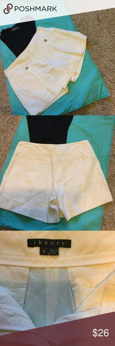 Beautiful Cute and Flirty Theory Shorts Extremely Versatile, Perfect to Wear to any Occasion White Theory Shorts.  Waist Laying Buttoned Laying Flat 15', Length from Top of Waistline to Bottom of Hem 13' Theory Shorts