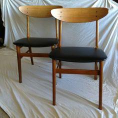 Pair 2 Danish Modern Teak Chairs Mid Century Wegner Eames Era | eBay