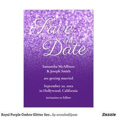Royal Purple Ombre Glitter Save the Date Invitation
