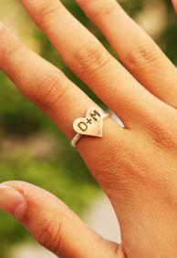 Custom Initial Heart Ring