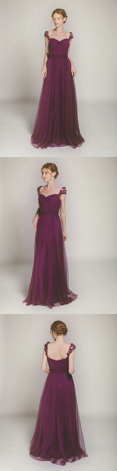 aubergine long tulle bridesmaid dresses for purple themed weddings
