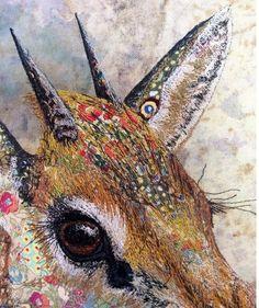 Amazing wildlife art illustrations in thread, embroidered deer nature portrait Шикарные вышивки Sophie Standing Art