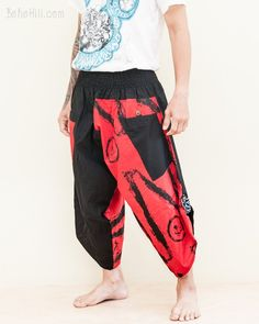 Urban Active Samurai Warrior Unisex Harem Capri Pants (Red Zigzag Brush) Hippie Pants, Harem Trousers, Ethnic Outfits, Samurai Warrior, Parkour, Zig Zag, Smocking, Elastic Waist, Flow