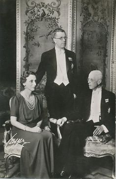 Crown Prince of Sweden with his second wife, Louise, and his father, King Gustaf V Adolf of Sweden.