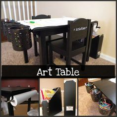 Kid's art table equipped with storage for art supplies and roll of drawing paper....all attached directly to the table.