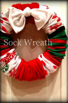 Sock Wreaths. I am making this wreath for Christmas this year! So easy!