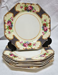 Scotch Ivory. B.P. Co. Ltd. England. 6 small hexagonal plates. Pre-WWII