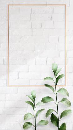 Rectangle golden nature frame on a brick wall vector premium image by Adj HwangMangjoo marinemynt Plant Wallpaper, Framed Wallpaper, Tumblr Wallpaper, Screen Wallpaper, Cool Wallpaper, Instagram Background, Instagram Frame, Photo Instagram, Flower Backgrounds