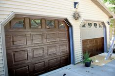 Gel Stain Can Revitalize Your Garage Doors Appearance - DIY - Door Design Garage Door Update, Garage Door Paint, Garage Door Makeover, Wood Garage Doors, Garage Door Design, Garage Paint Ideas, Garage Ideas, Garage Flooring, Exterior Makeover