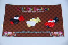 Trio of Minnie Mouse Heads with satin bows on by lilibirdbowtique, $8.49