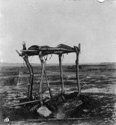 Native American (Sioux) scaffold grave near Jordan, Montana. 1879