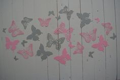 3D Butterflies made of textured card stock in Pink and by SierGoed