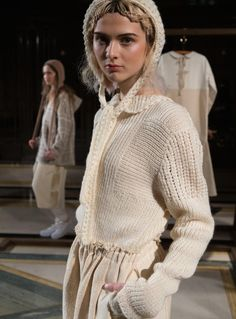 Soft White Knitted Sweater with Collar by Renli Su / Tops / Jumpers | Young British Designers