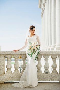 Gatsby inspired wedding. Modest wedding dress. Wedding headband. Utah photographer. Stephanie Sunderland Photography. Utah state capitol building. Classy wedding hair and makeup. Vintage car wedding photos.