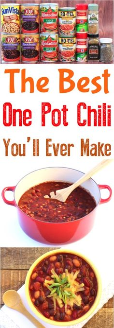 One Pot Chili Recipe!  This easy dinner is simple enough to make as a weeknight meal, and perfect for game day.
