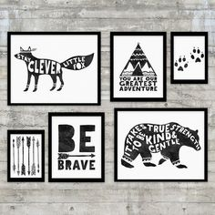 Monochrome Nursery Be Brave  Black and by PrintsAndPrintables