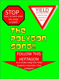 """This free product ensures students learn the names of polygons and their attributes via a simple and easy-to-learn song. Your students will love the song and sing it as they walk down the hallways! This product readies the students for the exciting """"Polygon Classification Challenge"""" game, and """"Quadrilateral Mania"""", which helps students learn about quadrilaterals via stories, poems and worksheets. These products are available for purchase at Teachers Pay Teachers."""