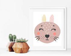Critter Face Print - Rabbit Print, Printable Wall Art, 8x10 Kids Print, 8x10 Nursery Print, Printable Home Decor, Kids Decor, Kids Bedroom by creamcityprintables on Etsy https://www.etsy.com/listing/522196286/critter-face-print-rabbit-print