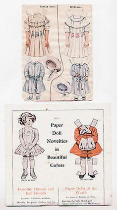 Vintage LETTIE LANE vs WILLIAMS paper dolls display with 1909 Dorothy Dimple Ad (11/08/2013)