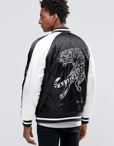 Image 1 ofASOS Bomber Jacket with Tiger Embroidery in Black