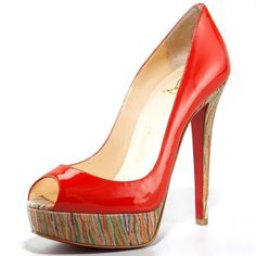 Christian Louboutin Banana Peep Toe Pumps 140mm Red