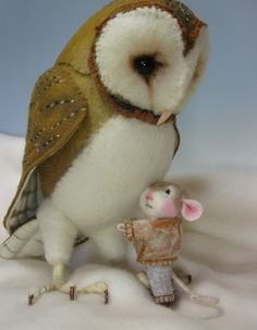 Jilly Sannich the mouse and Owl Needle Felted by barby303