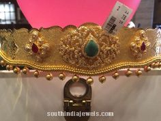 Gold Vadanam with weight 150 Grams ~ South India Jewels Antique Jewellery Designs, Gold Earrings Designs, Gold Jewellery Design, Bead Jewellery, Gold Jewelry, India Jewelry, Gold Necklaces, Beaded Jewelry, Vaddanam Designs