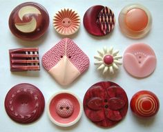 1930-1940's Red and Pink Celluloid Buttons