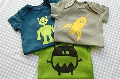 Painted onesies - links to a freezer paper tutorial