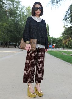 printed pants + metallic gold platforms