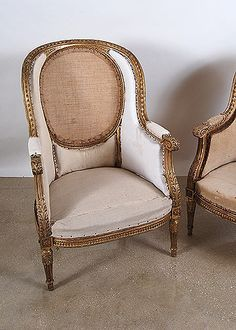 Best Pair of French Antique Louis XVI Giltwood Bergeres