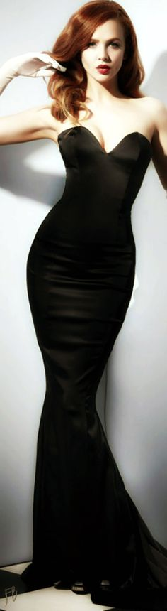 Black strapless mermaid gown. Ugh. Where can I find a dress like this!!