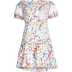 Peter Pilotto Printed Cotton Dress ($759) ❤ liked on Polyvore featuring dresses, multicolor, peter pilotto dress, bright dresses, rouched dress, cotton print dress and print dress