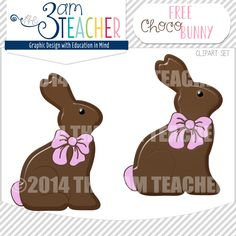 FREE on TPT!! Cute Chocolate Easter Bunny Graphics by The 3AM Teacher!! Visit my New Website:http://www.3amteacher.com/