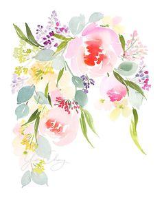 Garland Beau Watercolor Art Print by YaoChengDesign on Etsy