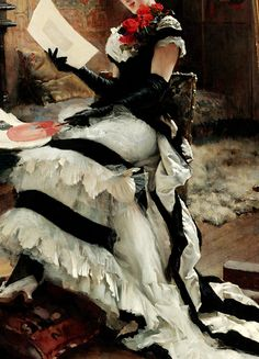 "warpaintpeggy: "" INCREDIBLE DRESSES IN ART (79/∞) Chez L'Artiste by Albert Edelfelt, 1881 """