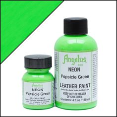 Angelus Neon paints are perfect when you need vibrant colors for your custom sneakers or restoration products. Stand out with Neon Popsicle Green acrylic paint. Heather Robinson, Neon Painting, Thing 1, White Acrylics, Leather Projects, Painted Shoes, Yellow Leather, Popsicles, Leather Craft