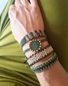 green macrame bracelets, beaded, gold and green,