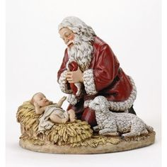 Kneeling Santa is a great way to teach young ones the true meaning of Christmas. Santa kneeling in prayer before the Christ Child helps us focus on what truly is important - Our service to God and the thankfulness of salvation through Christ Jesus' birth! Santa Christmas, Christmas Cards, Christmas Decorations, Celebrating Christmas, Yard Decorations, Woodland Christmas, Father Christmas, Christmas Signs, Christmas Pictures