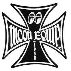 Moon Black Iron Cross Decal Sticker Rat Hot Rod Gasser Old School Bike Vtg Style Hot Rod Tattoo Logos Vintage Hot Rod