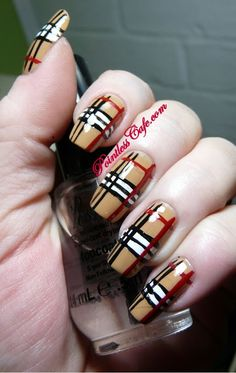 Burberry nails, perfect for winter and fall Plaid Nail Art, Plaid Nails, Striped Nails, Metallic Nails, Gradient Nails, Acrylic Nails, Sparkly Nails, Burberry Nails, Burberry Plaid